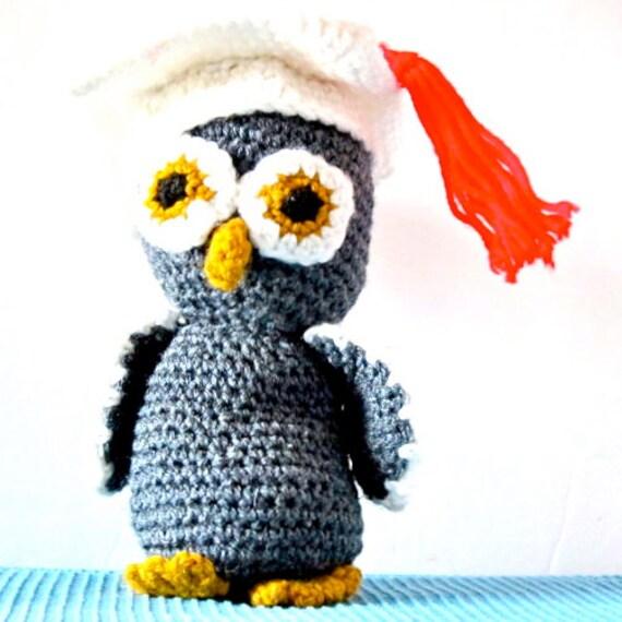 Vintage Owl Amigurumi Handmade Grey Yellow Graduation Owl