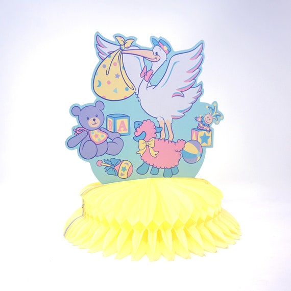 Vintage Baby Shower Decor Stork Paper Cut Out on Yellow Honeycomb Tissue Paper Decoration Table Top 80s Shower Party Its A Boy or Girl
