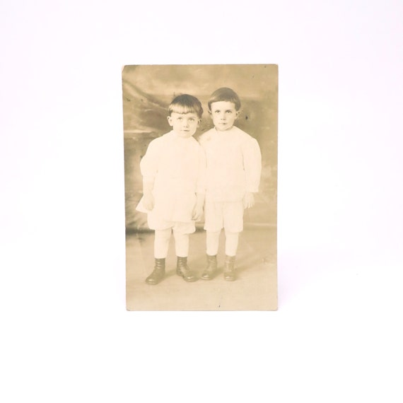 Vintage Postcard Young Boys 1910s RPPC Real Photo Queens NY