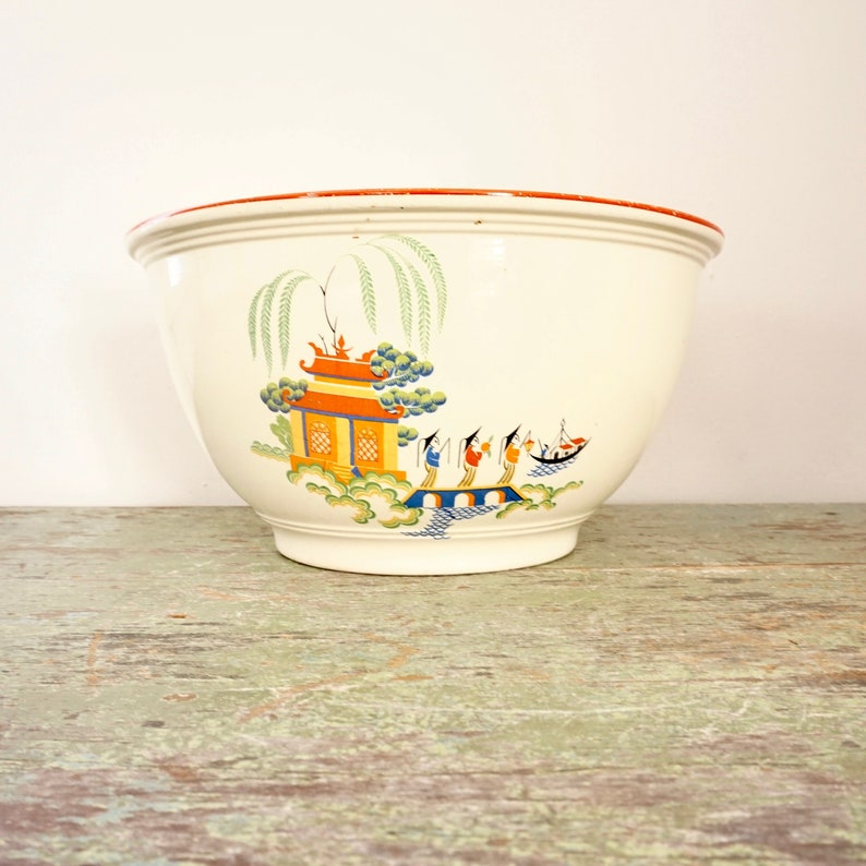 Vintage Homer Laughlin Mixing Bowl RARE Chinese Willow 30s Kitchen Kraft Ovenserve Asian Scene Butter Yellow Pottery Bowl Red Rim Very Heavy