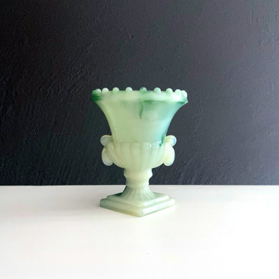 Vintage Tiny Urn Green Slag Glass Akro Agate Swirled Milk Glass White Mint with Mint Green Toothpick Container Match Holder