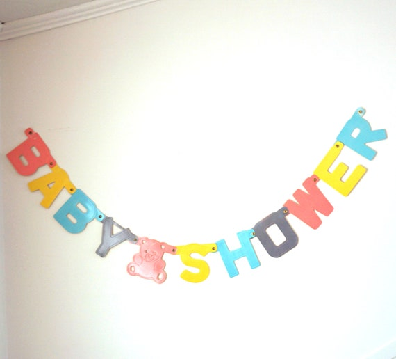 Vintage Party Banner Baby Shower Paper Letters Jointed Pink Bear Motif Its a Girl Pastel Colors 1980s Party Decor