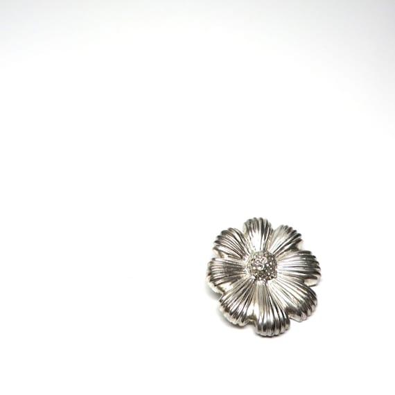 Vintage Flower Brooch Mexican Sterling Silver Pin Poppy Flower