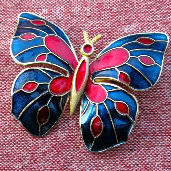 Vintage Butterfly Pin Blue and Red Enamel Brooch Jewel Tone Costume Jewelry
