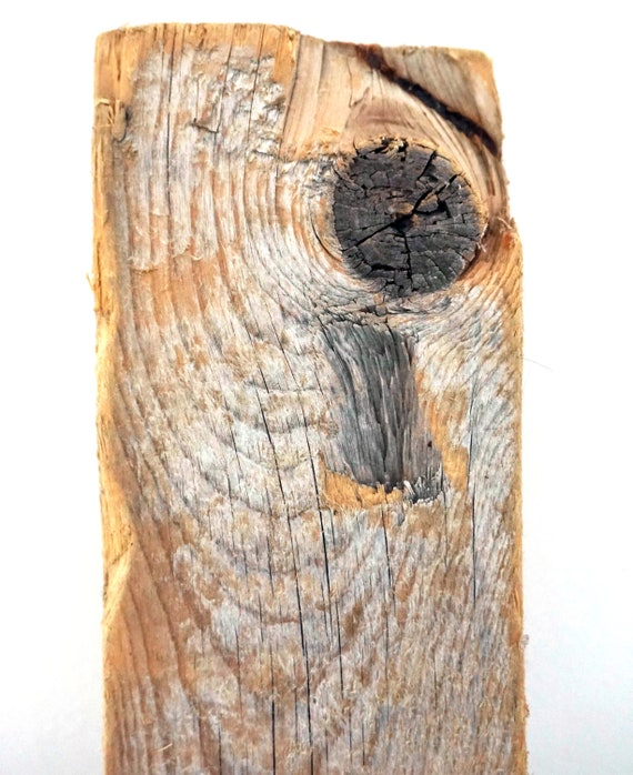 """Weathered Lumber Driftwood Piece Silvery Grey Toned Stained Wood Sun Bleached Sea Worn Beach Find Salvaged 2"""" x 4"""" Wood For Repurposing"""