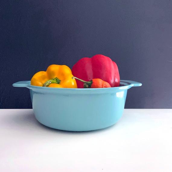 Vintage Enamel Pot Aqua Cast Iron Prizer-Ware Small Pot with Handles No Lid 1950s Cookware Retro Turquoise Kitchen