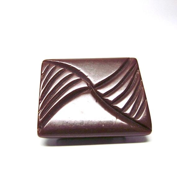 Vintage Bakelite Chocolate Brown Buckle Art Deco Detash