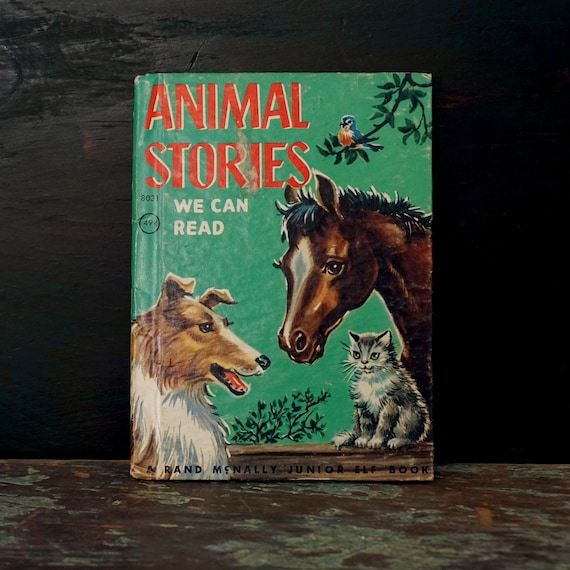 Vintage Children's Book Animal Stories We Can Read 1967 Rand McNally Junior Elf Book Boy Named Dick Cute Animals Farm Illustrations 1947