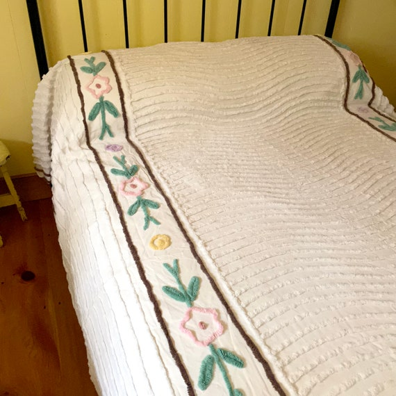 Vintage Chenille Bedspread White Wavy Lines Pink Purple Yellow Flowers Brown Border Coverlet Full Size Tufted Chenille 1950s Bedding Rare