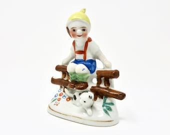 Vintage Elf with Lederhosen and Cat on Fence Japan 1950s Little German Boy Yellow hat