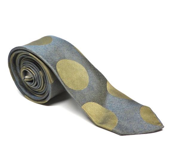Vintage Necktie Polka Dot Skinny Tie Pewter Graphite Mens