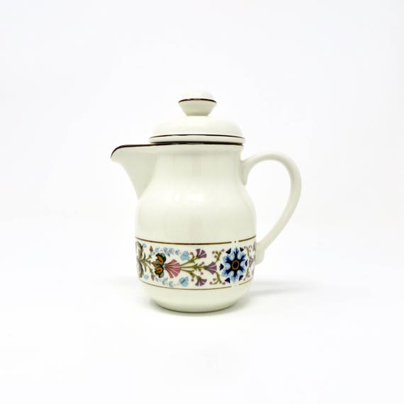 Vintage Mini Coffee Pot Unused Villeroy and Boch Chateau Floral Band Pattern 1980s Coffee for One