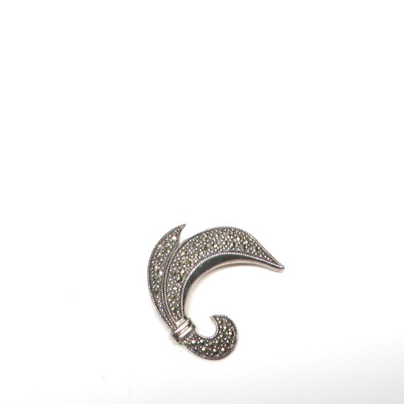 Vintage Brooch Marcasite Fleur De Lis Style Sterling Pin