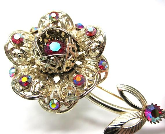 Vintage Sarah Cov Brooch Flower Aurora Borealis Crystals