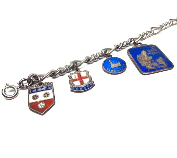 Vintage Travel Bracelet Europe Charms Southampton UK Denmark Cote d'Azur Monaco Princess Grace Kelly Collectible High Rise Building Charm