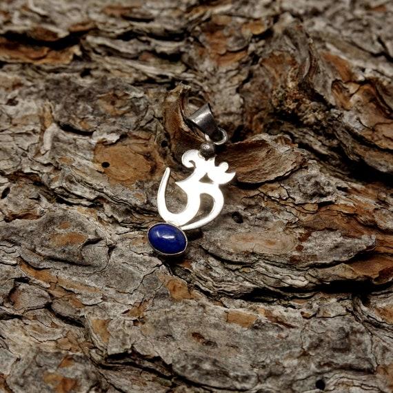 Vintage Om Pendant Silver Blue Lapis Lazuli Oval Stone Sanskrit Character Symbol for Entire Universe Whole Being Body Mind Spirit Yogi Gift