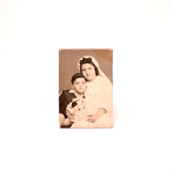 Vintage Photograph on Metal Confirmation Photo Children