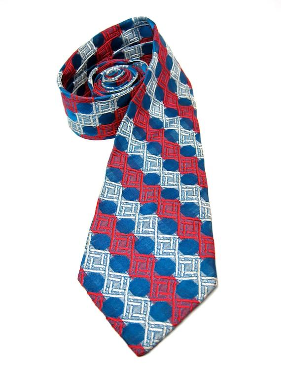 Vintage Necktie Patterned Red Blue Geometric Tie 1960s
