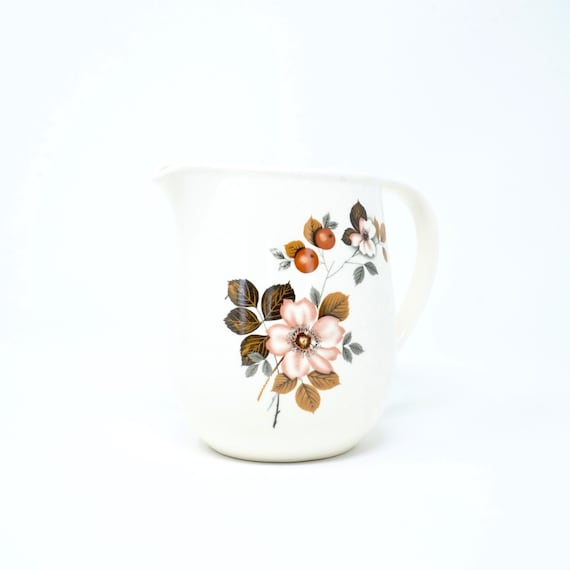 Vintage Small Pitcher Orange Blossoms White Jug Small Milk Pitcher Flowers Off White Brown Leaves Large Creamer Faianta Sighisoara Romania