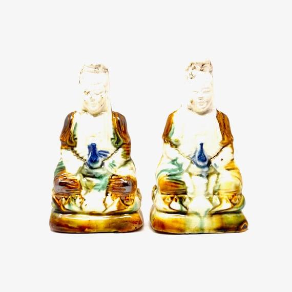 Vintage Buddha Statues Bhaiṣajyaguru Medicine Buddhas Hold Bottles of Medicine Nectar Lapiz Blue Brown Drippy Glaze Unglazed White Pottery