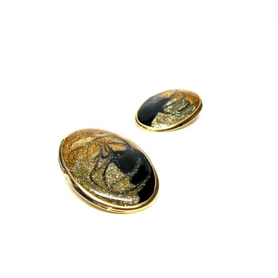 Vintage Earrings Glitter Gold Black Enamel Swirl Earring Large Oval Statement Jewelry Gold Toned Costume Jewellry 80s