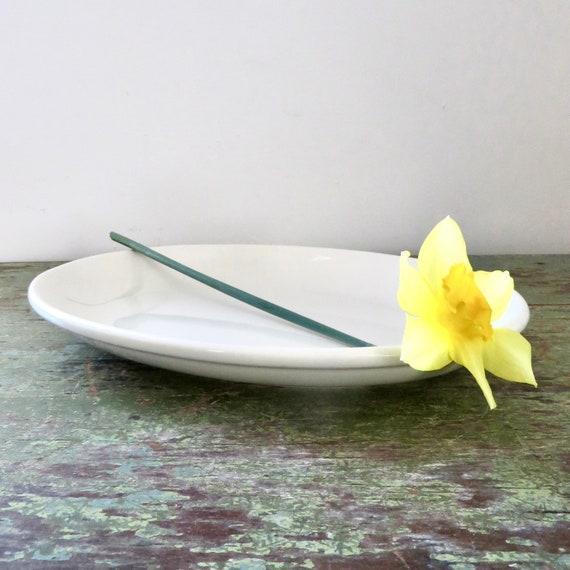 Vintage Off White White Oval Platter Homer Laughlin Serving Plate 1980s