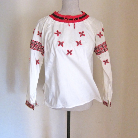 Vintage Blouse White Embroidered Red Black Cotton Shirt