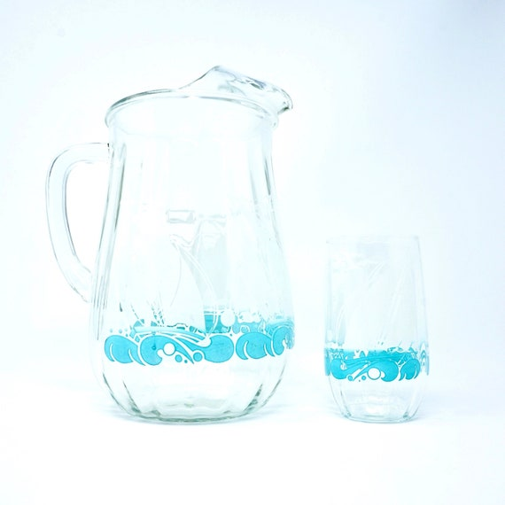 Vintage Nautical Pitcher Cup Set Heavy Glass Fluted Pitcher White Aqua Blue Sailboat Waves Seagulls Matching Tumbler Glass 50s Water Pitcher