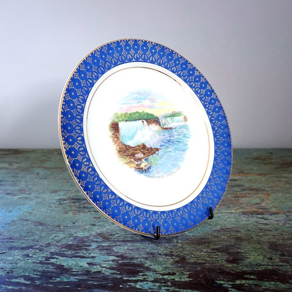 Vintage Niagara Falls Plate Cronin Blue Gold Gilt Bordered Niagara Falls General View Transfer NYS Landmark Souvenir Dish Upstate New York