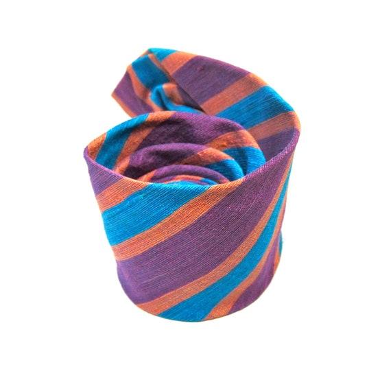 Vintage Purple Tie Pink Aqua Silk Diagonal Striped Tie