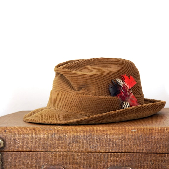 Vintage Corduroy Fedora Brown Men's Hat 1960s Red Feathers Gold Glass Embellishment Paisley Lining Fabric