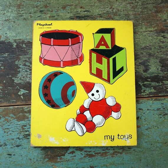 Vintage Wood Puzzle 1970s Playskool My Toys Doll Blocks Ball Drum Illustrations Yellow Background Board Puzzle Preschool Toy Missing Pieces