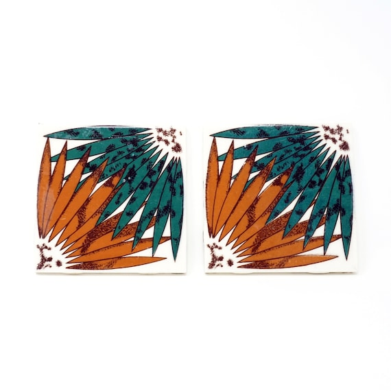 Vintage Mexican Tiles Geometric Brown Green '70s Ceramic Tile Square Set Mexican Made Dal-Tile Abstract Design Contemporary Kitchen Wall Art