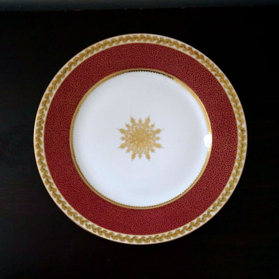 Antique Limoges Dinner Plate Charles Ahrenfeldt French Porcelain Hand Painted Gold Laurel Border Starburst Medallion Burgundy Red Band 1900s