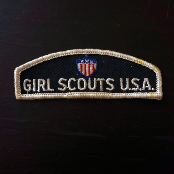 Vintage Girl Scout Patch Identification Badge ID Strip 1960s Cadette Senior GS of America Uniform Scouting Collectible Dark Green Background