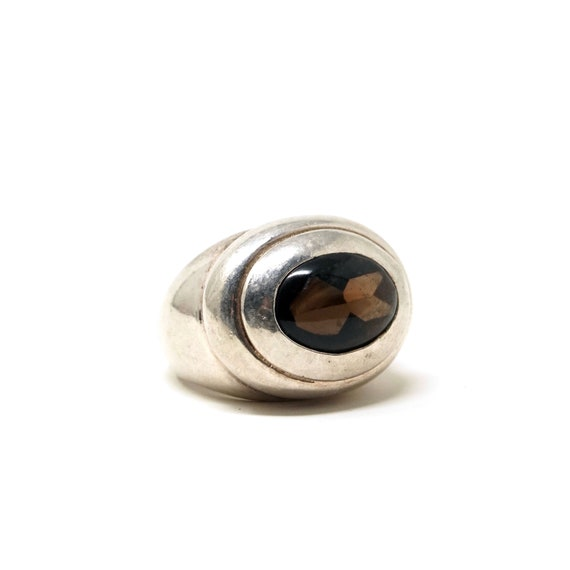 Vintage Smoky Quartz Ring 925 Silver Chunky Ring Cut Clear Gemstone Grey Brown Wide Band Sterling Italy Statement Ring Size 7.5