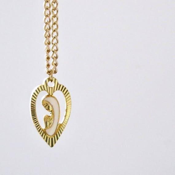 Vintage Virgin Mary Necklace Gold Tone White Enamel Virgin Mother Heart Pendant Gold Chain 1960s