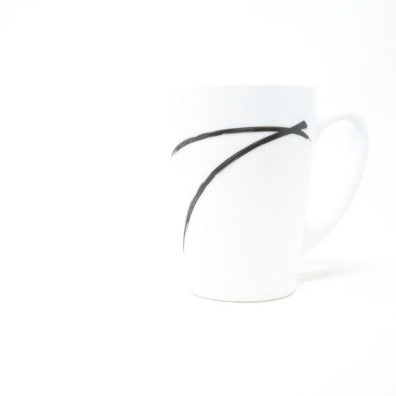Vintage Brushstroke Mug Glass White Opaque Black Gesture 1980s Contemporary Dinnerware Arc France Rare Milk Glass Arcoroc Glassware Luminarc