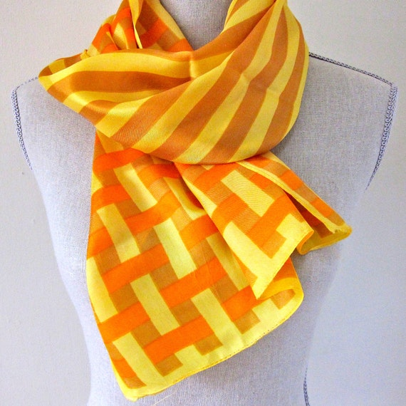 Vintage Orange Scarf Silk Scarf Yellow Plaid Basket Weave