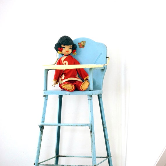 Vintage Toy High Chair Baby Blue Metal 50s Doll E Highchair by Amsco Toy Furniture Piece Bear Money Label Made in Hatboro PA Doll Furniture