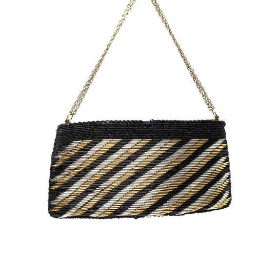 Vintage Gold and Black Clutch Bag Beaded Handbag Small Evening Purse Removable Chain Handle Retro Cocktail Bag Walborg Hand Beaded in Macau