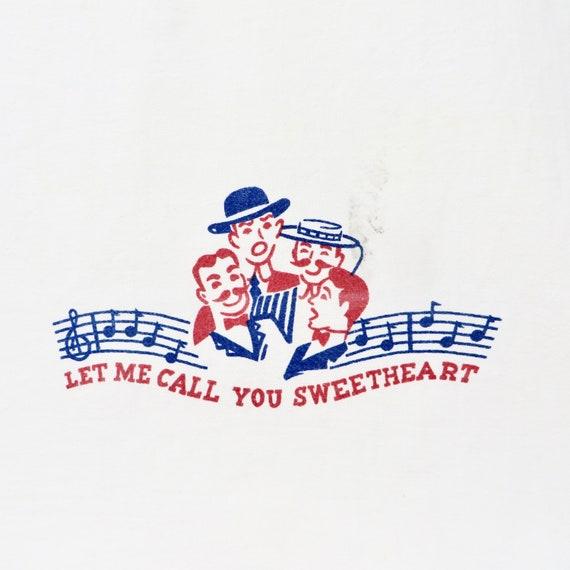 Vintage Flour Sack Towel Let Me Call You Sweetheart Red White Blue Dish Towel Barber Shop Quartet
