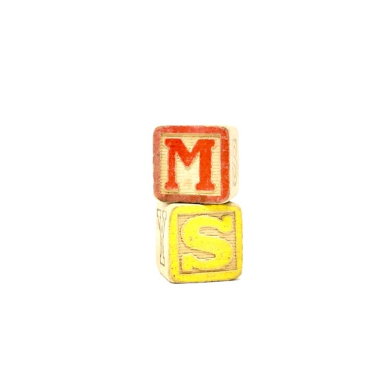 Vintage Toy Block Pair Wood Blocks Red Letter M Yellow Letter S Green Letter Z Blue F Mid Century Spell Ms. Initials sm fm mf ms sz zs fz zf