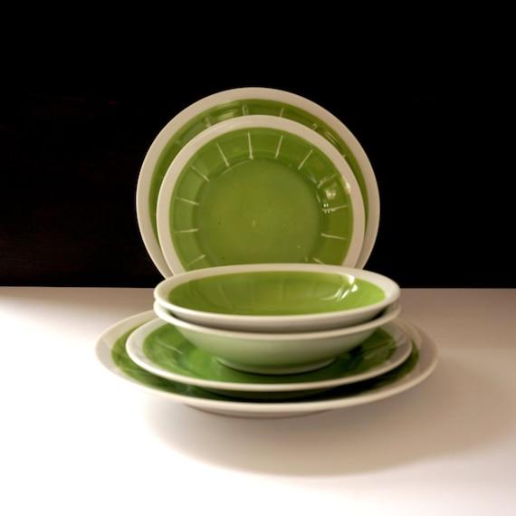 Vintage Green Dinnerware Victoria China Czechoslovakia 1940s Porcelain Bowls Pair Saucers Dessert Plates Lime Green White Rim Citrus Look