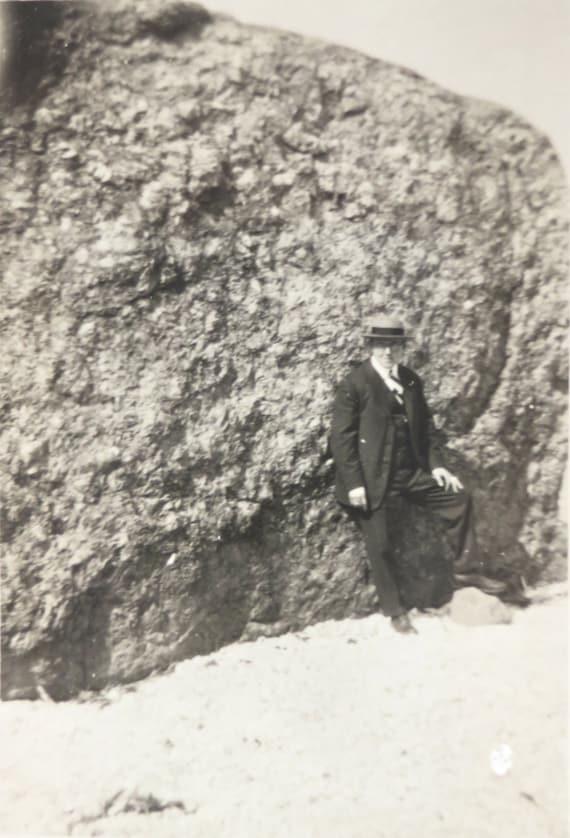 Vintage Photograph Man with Rock Beach 1920s Photo