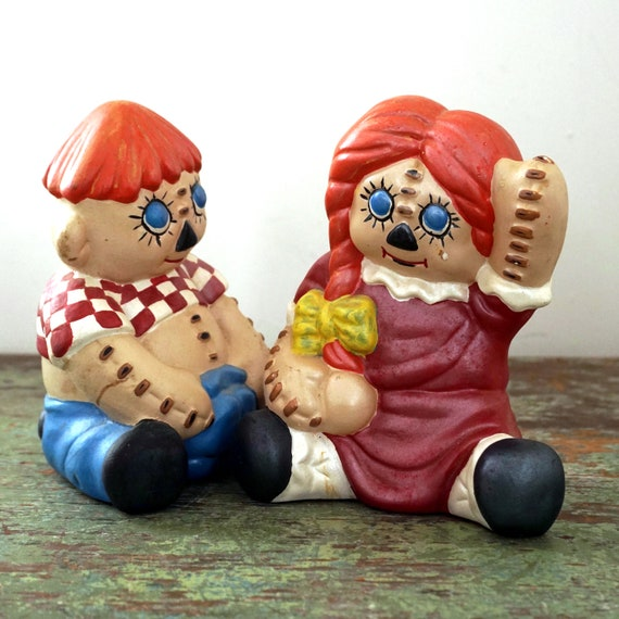 Vintage Raggedy Ann and Andy Ceramic Figurines Hand Painted Red Haired Dolls Classic Couple 70s Homemade Ceramic Creations Retro Kids Decor