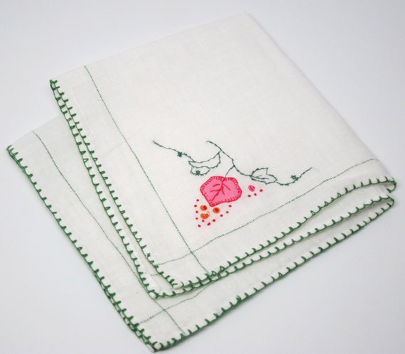 Vintage Hanky Pink Green White Linen Embroidery Handmade
