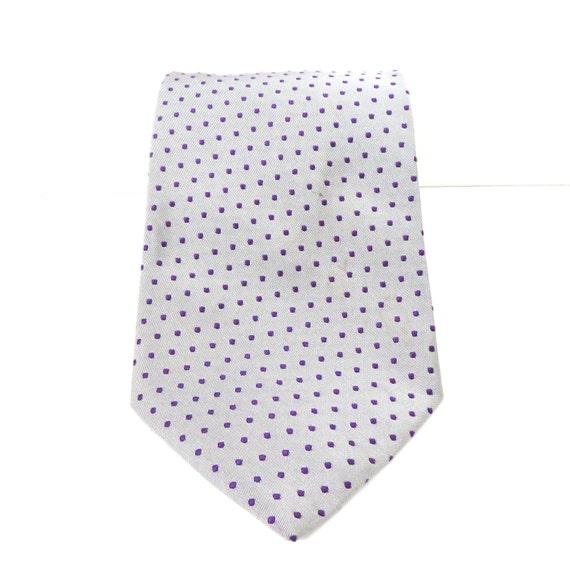 Vintage Tie Silk Grey Purple Pin Dot Brooks Brothers 80s