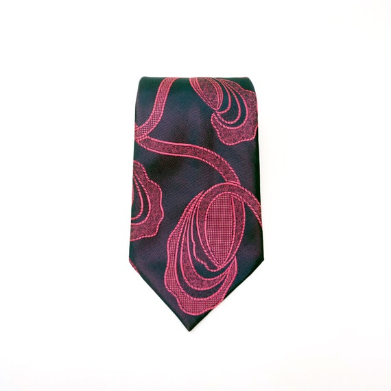 Vintage Pink Navy Tie Abstract Organic Inspired Design 1960s Wide Necktie by Trevira Unique Groovy Polyester Necktie Super 60s-70s Menswear