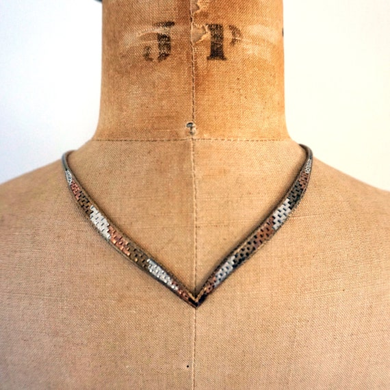 Vintage 925 Silver Necklace 3 Tone Chevron Riccio Chain Tricolor Copper Silver Bronze Toned Woven Look Necklace V Shaped Flat Sterling Italy